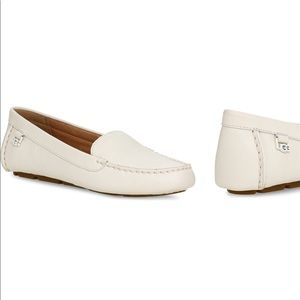 White leather UGG driving loafer